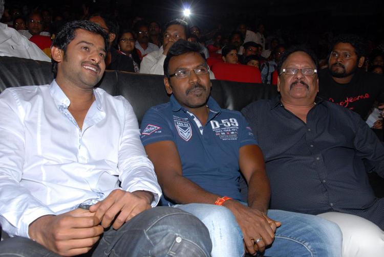Prabhas and Raghava Latest Still During Rebel Movie Audio Launch Event