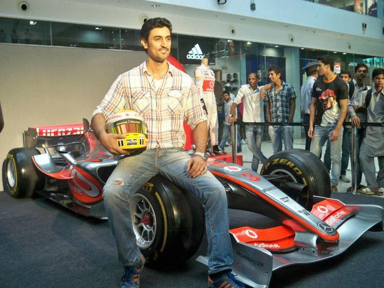 Kunal Kapoor Poses With A Replica Of A Formula 1 Car