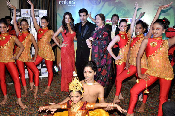 Malaika,Karan and Kirron Pose During The Launch Of India's Got Talent 2012