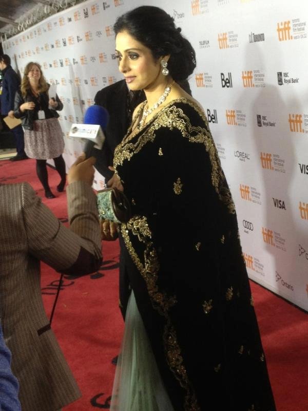 Sridevi Kapoor Black Saree Gorgeous Pic at TIFF 2012
