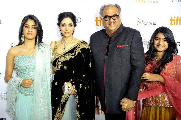 Sridevi Pose With Family at TIFF 2012 For English Vinglish Premiere