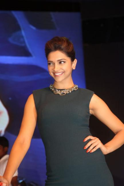 Deepika Smiling Pic During The Launch of Yamaha Ray Scooter