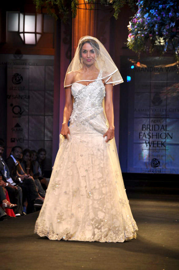 Malaika Walked The Ramp As The Quintessential Christian Bride For Renowned Designer Mandira Wirk