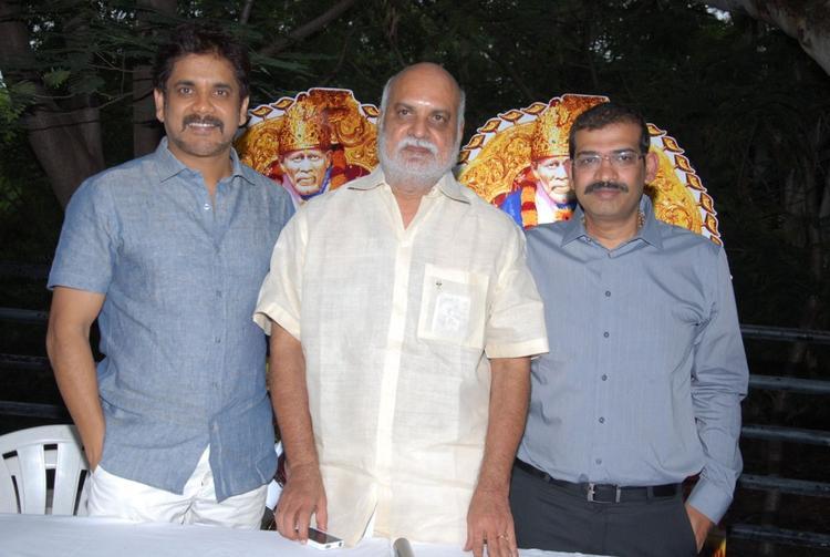 Nagarjuna and K Raghavendra at Shirdi Sai Movie Success Meet