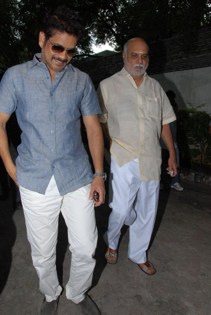 Nagarjuna With K Raghavendra Rao at Shirdi Sai Movie Success Meet