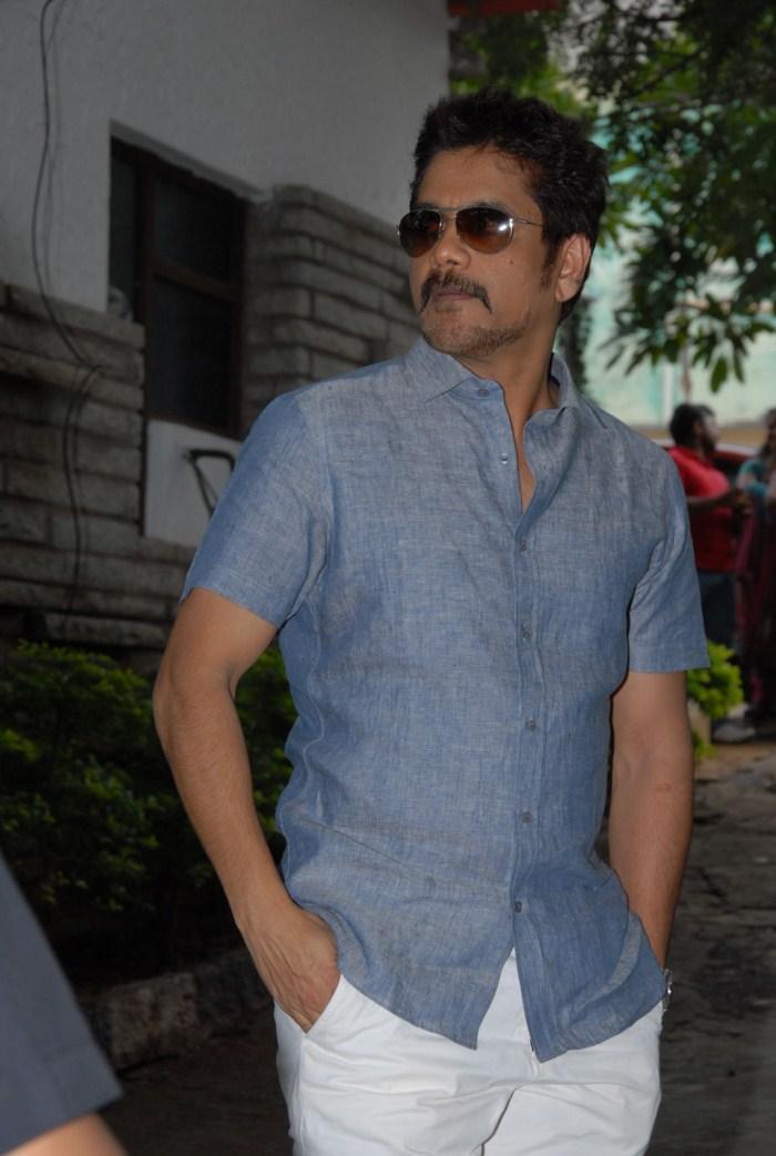 Nagarjuna Spotted at Shirdi Sai Movie Success Meet Event
