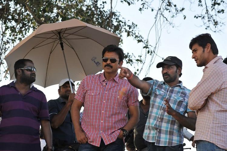 Venkatesh On The Sets Of SVSC Movie