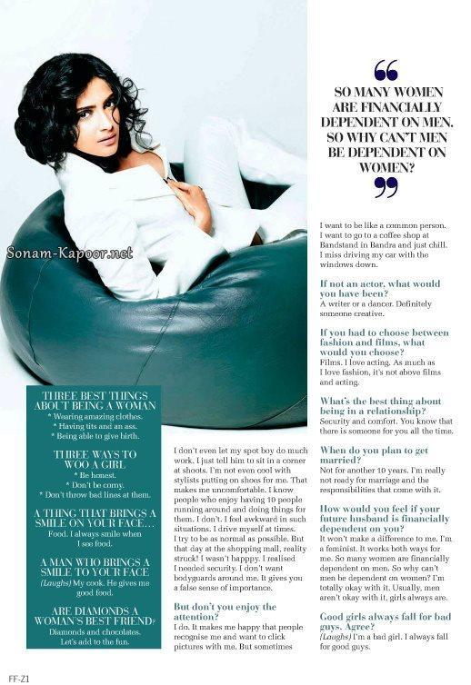 Sizzling Sexy Sonam Kapoor Photo Shoot For Filmfare September
