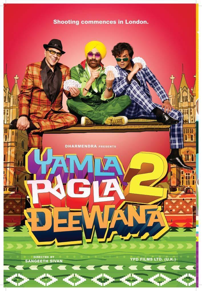 Sunny,Bobby and Dharmendra In Yamla Pagla Deewana 2 Poster
