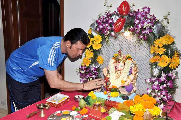 Aditya Pancholi Celebrating Ganesh Chaturthi at His Residence