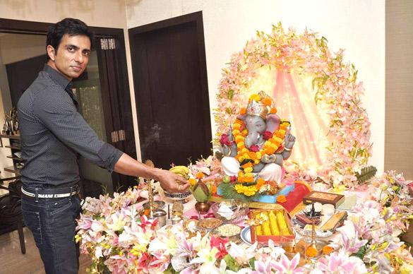 Bollywood Actor Sonu Sood Celebrating Ganesh Chaturthi at His Residence