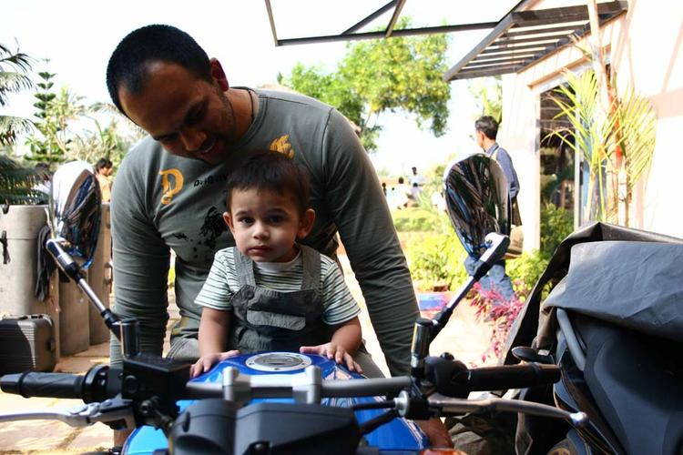 Director Rohit Shetty With Son Ishaan On Bike