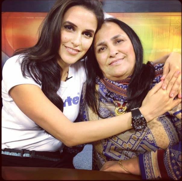 Neha Dhupia and Her Mom Pose To Photo Shoot