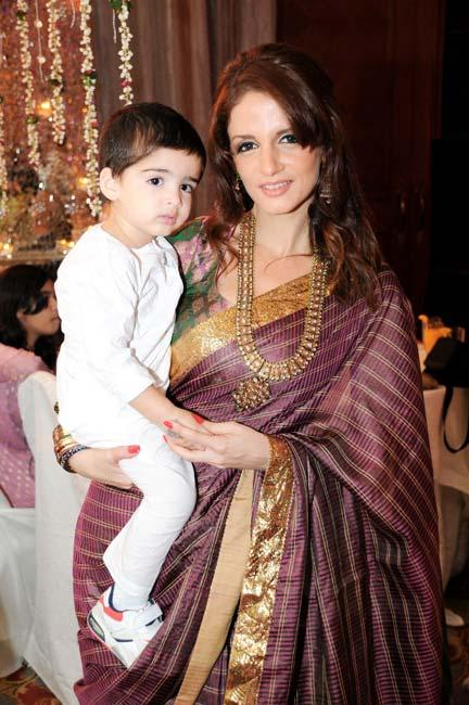 Suzanne Roshan and Hridhaan at Laila Khan's Wedding Ceremony