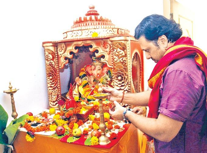 Govinda Celebrating Ganesh Chaturthi at His Residence