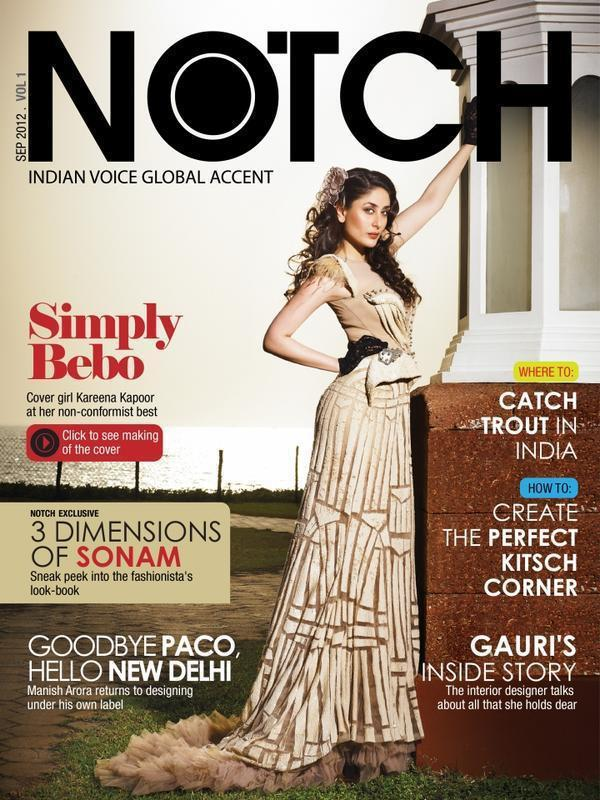 Kareena Kapoor in Falguni and Shane Peacock on The Cover of Notch
