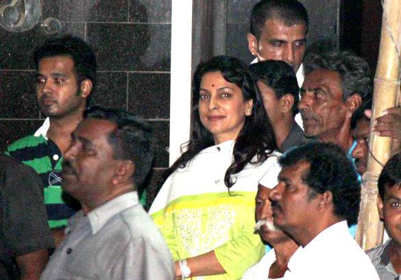 Juhi Chawla Spotted at Salman Khans Home For Ganesh Visarjan