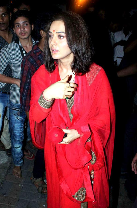 Preity Zinta In Red Dress at Salman Khans Home For Ganesh Visarjan