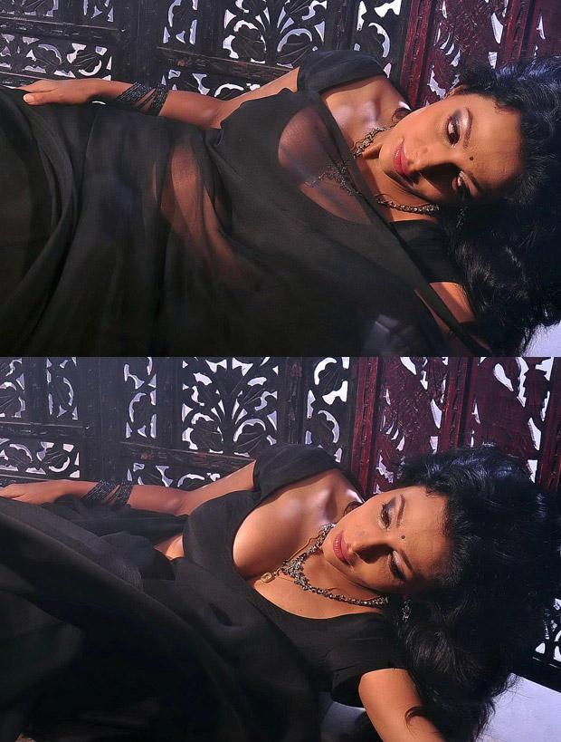 Asha Shaini Super Sexy Still In Black Saree