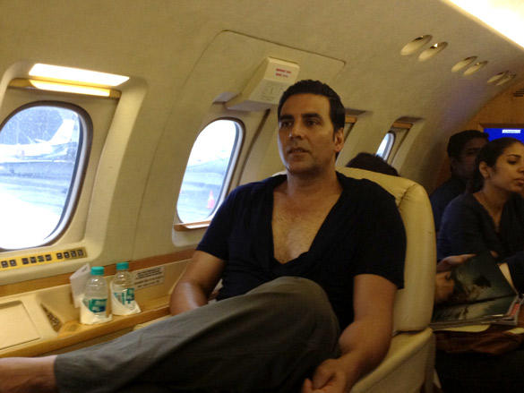 Akshay Kumar On Private Plane Spotted To Promote OMG-Oh My God