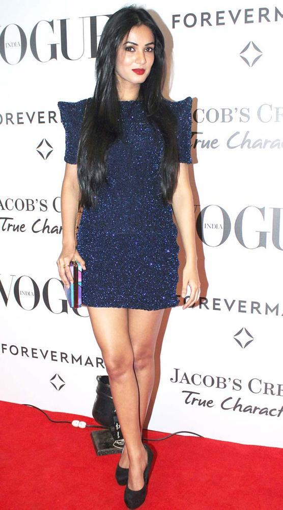 Sonal Chauhan at 5th Birthday Party Of Vogue In Short Sequin Dark Blue Dress