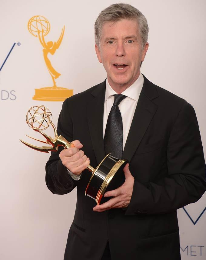 Tom Bergeron Holds His Trophy In The Press Room
