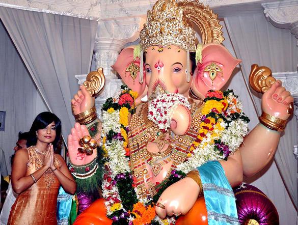 Celeb at Andheri Cha Raja In Mumbai