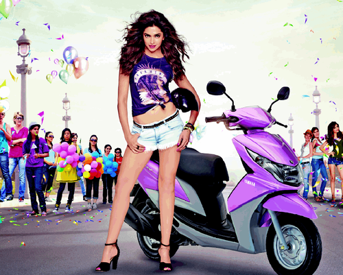Sizzling Actress Deepika Padukone Hot Photo Shoot For Yamaha Ray Ad