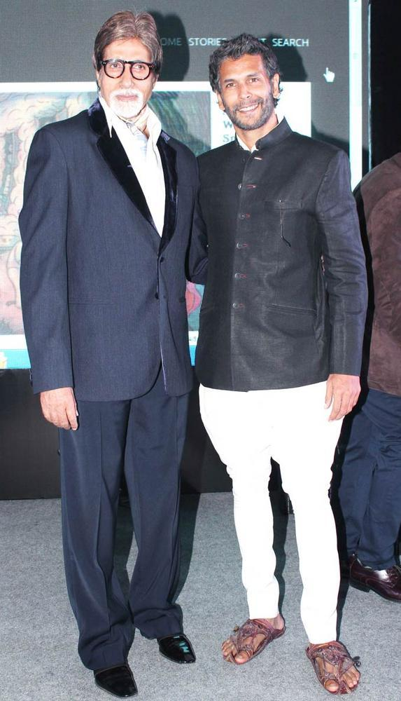 Amitabh and Milind Pose During The Launch Of The Online Magazine,TBIP