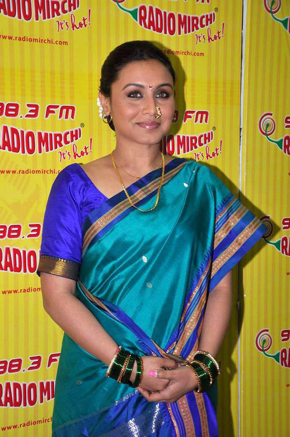 Rani Mukherjee In Traditional Saree at  98.3 FM Radio Mirchi For Aiyyaa Promotion