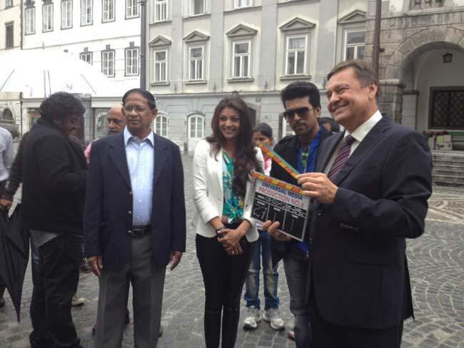 Kajal and Ram Charan Nayak Movie Working Still