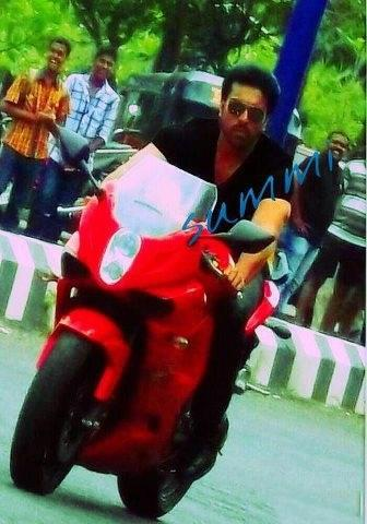Ram Charan Teja Wonderful Still On Red Bike