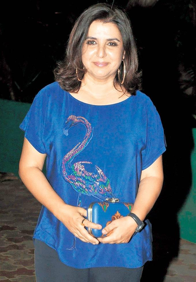 Farah Khan has A Peacock On Her Outfit at Chunky Pandey's Birthday Bash