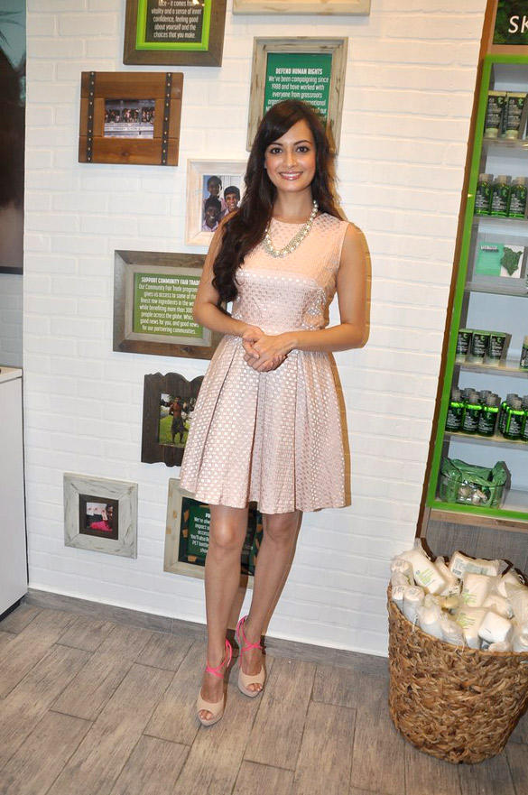 Dia Mirza in Warehouse Jacquuard Dress at Body Shop Event