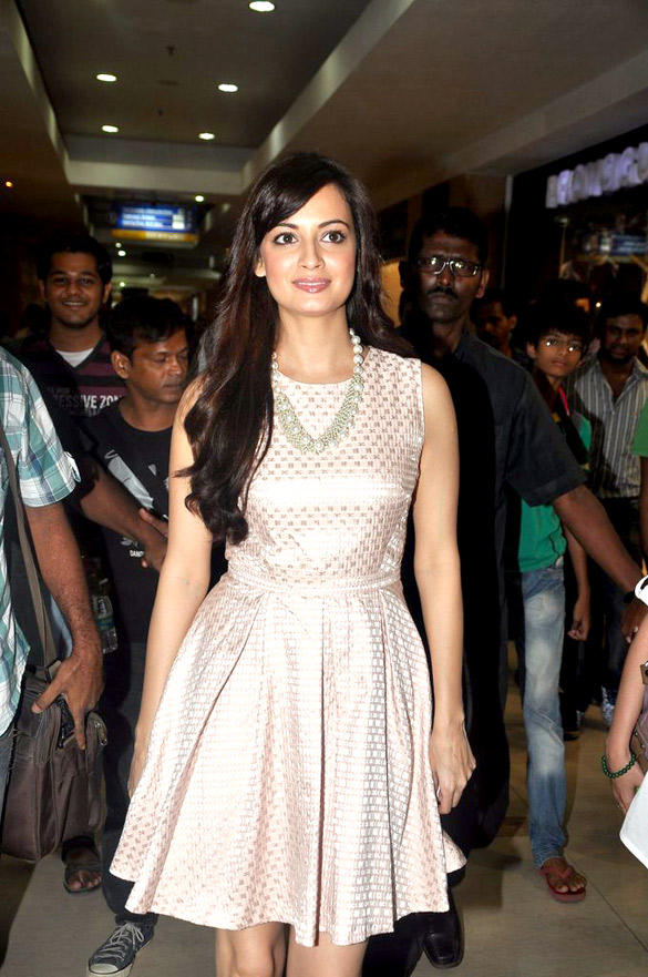 Dia Mirza's Cute Look In Light Pink Warehouse Dress at The Body Shop Event