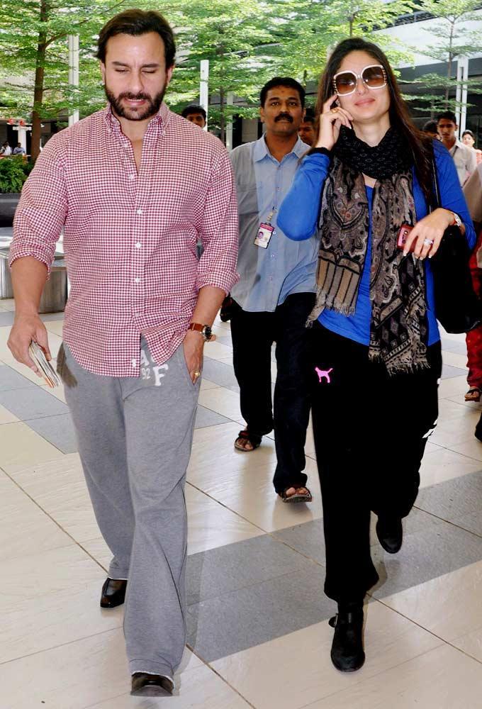 The Happy Couple Saif And Kareena Kapoor At Mumbai Airport