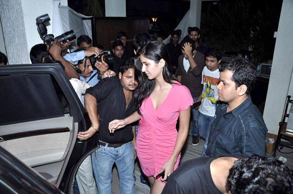 Katrina Kaif at Ranbirs Birthday Bash At Kapoors Residence