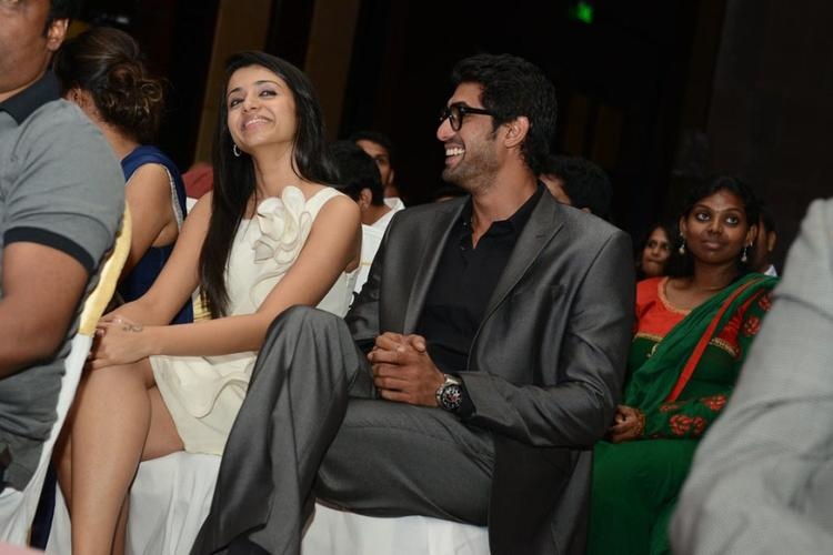 Trisha and Rana Open Smile Pic During Audi Ritz Icon Awards 2012
