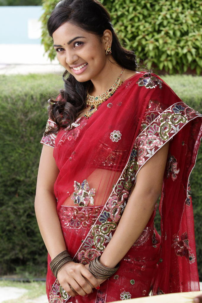 Srushti Red Transparent Saree In April Fool Movie
