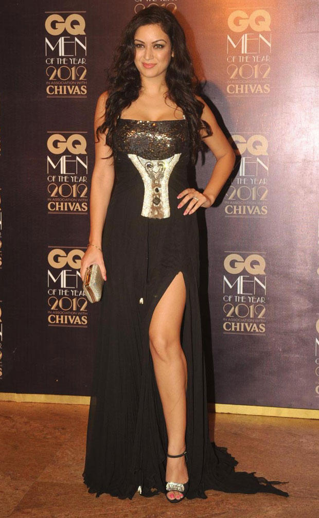 Maryam Zakaria Looks Dazzle In High Cut Black Gown at GQ Men Awards 2012
