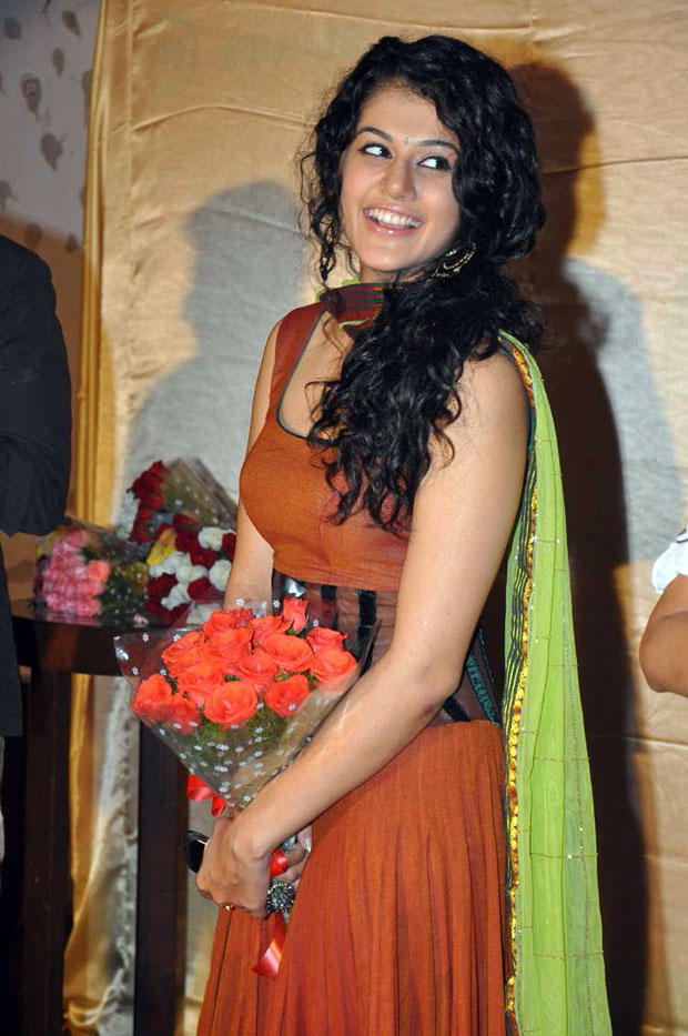 Taapsee Pannu With Bouquet Routine Love Story Logo Launch Event