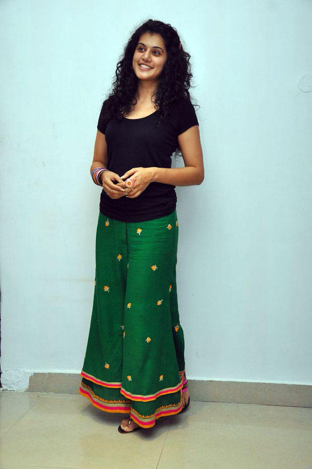 Taapsee Pannu Nice Pose In Green Long Skirt and Black Top