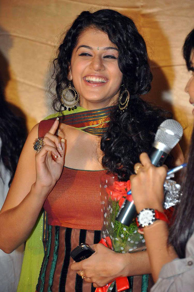 Taapsee Pannu Smiling During Routine Love Story Logo Launch Event
