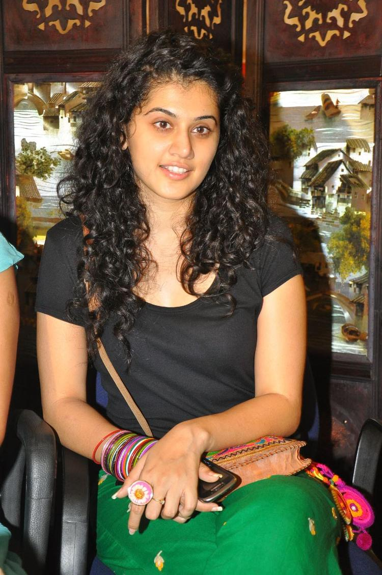Curly Hair Beauty Taapsee Pannu at Gundello Godari Movie Press Meet