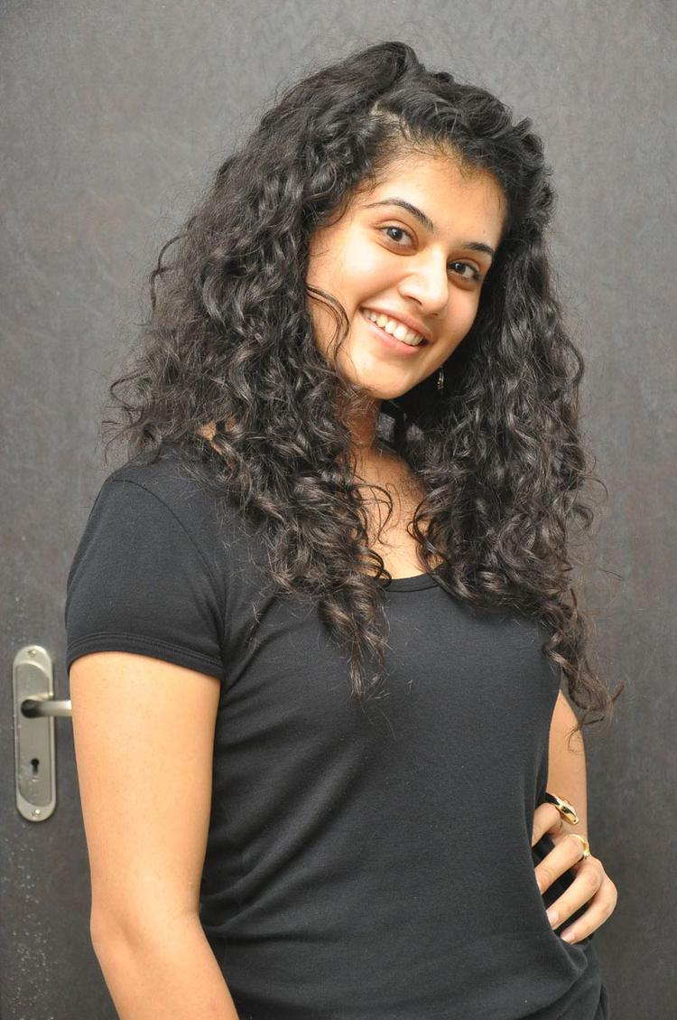 Telugu Actress Taapsee Pannu Cute Beautiful Still in Black Dress