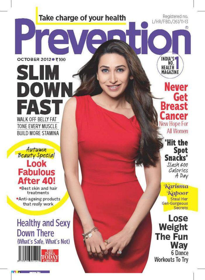 Karisma Kapoor On The Cover of Prevention India Oct 2012