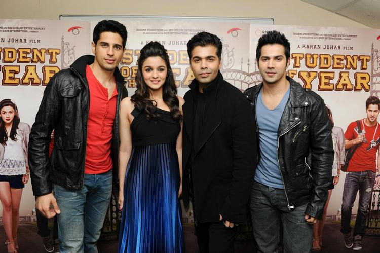 Karan,Siddharth,Varun And Alia Promoting SOTY In London