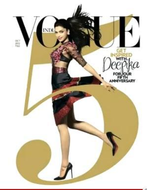 Hot Babe Deepika Padukone On Cover of Vogue's India 5th Anniversary Issue