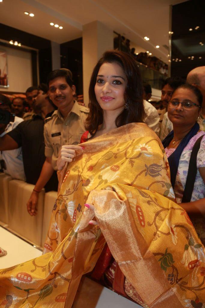 Tamanna Saree Still At Womens World Showroom Launch