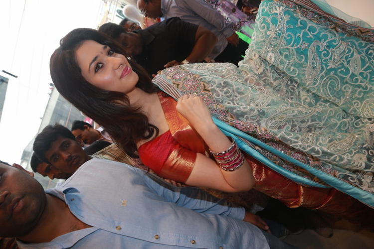 Tamanna Showing A Saree At Womens World Showroom Launch Event